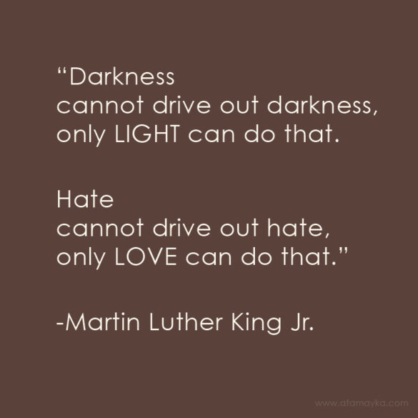 """Darkness cannot drive out darkness, only LIGHT can do that. Hate cannot drive out hate, only LOVE can do that."" -Martin Luther King Jr."