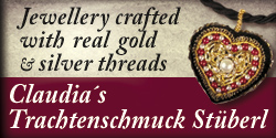 Jewelery crafted with real gold and silver threads - Schmuckstücke ausschließlich mit echten Gold- und Silberfäden in feinster Handarbeit